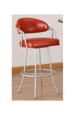 Callee Red Barstool with Silver Metal Frame, Great for Modern Kitchens