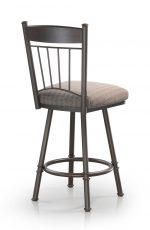 Trica's Allan Swivel Counter Stool in Chocolate Metal Finish and with Tall Backrest, Seat Cushion and Footrest