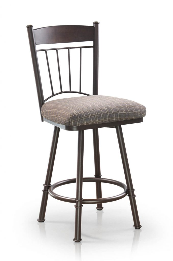 Trica's Allan Swivel Counter Stool in Mahogany Wood Finish on Back, Thick Seat Cushion and Metal Frame