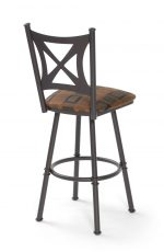 "Trica's Aramis Swivel Bar Stool 30"" Inch in Cocoa Metal Finish with Back"