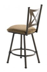 Trica's Aramis Swivel Counter Stool with Cross Back Design and Upholstered Seat