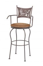 Trica's Art Collection Swivel Bar Stool with Arms and Duck with Grass and Pond Laser Cut-Out on Backrest