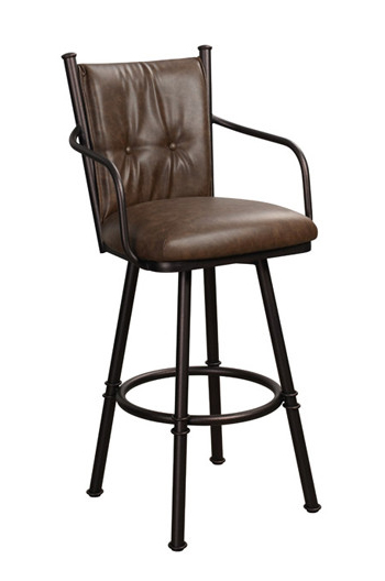 Trica Arthur 2 Swivel Stool with Arms and Leather Upholstery
