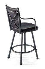 Trica Arthur Swivel Stool with High Cross Back and Seat
