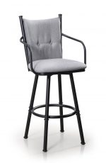 Trica's Arthur 2 Swivel Metal Bar Stool with Arms, Black Metal Finish, and Gray Back with Seat Cushion