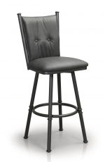 Trica's Arthur Armless Swivel Bar Stool with Button-Tufted Upholstered Back and Seat - Shown in Black Metal Frame and Gray Seat