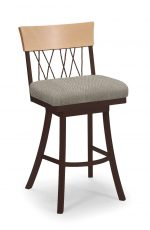 Trica's Bambusa Brown Metal Swivel Bar Stool with Wood Back