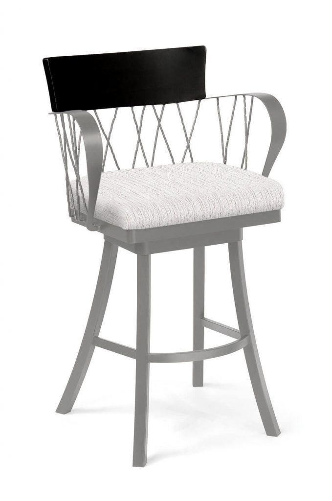 Trica's Bambusa Modern Gray Swivel Bar Stool with Arms, Black Wood Back, and White Seat Cushion