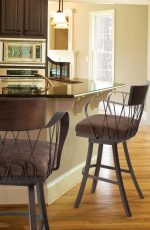 Trica's Bambusa Swivel Bar Stools with Arms and Backrest with Deep Seat - in Traditional Dark Brown Kitchen