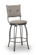 Trica's Bill 1 Armless Swivel Counter Stool with Upholstered Button-Tufted Back and Round Seat Cushion