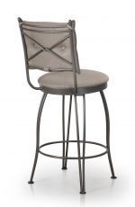 Trica's Bill 1 Armless Swivel Counter Stool with Upholstered Button-Tufted Back and Round Seat Cushion - View of Cross Back Design