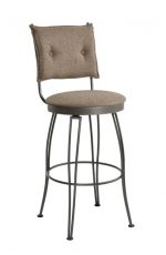 Trica Bill Swivel Stool with Button-Tufted Backrest