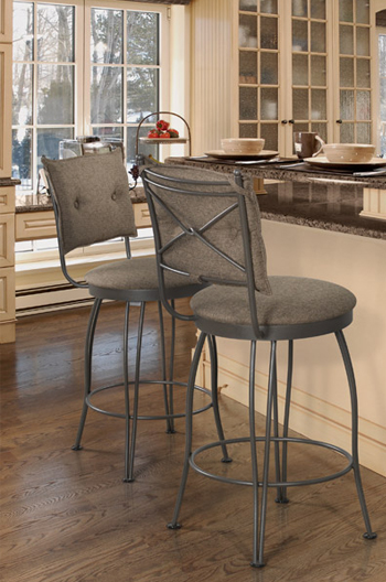 Trica Bill Swivel Stool W Button Tufted Upholstered Back
