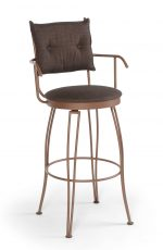 Trica's Bill 2 Swivel Bar Stool with Arms, Button Tufted Backrest and Round Seat Cushion in Brown Metal Finish and Brown Fabric