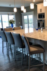 Trica's Biscaro Modern Upholstered Bar Stools in Kitchen