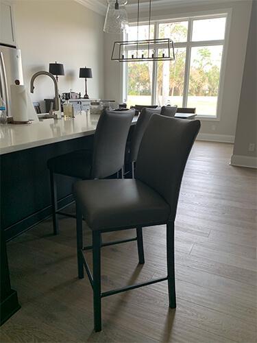 Trica's Biscaro Modern Upholstered Barstools in Gray in Modern Black & White Kitchen