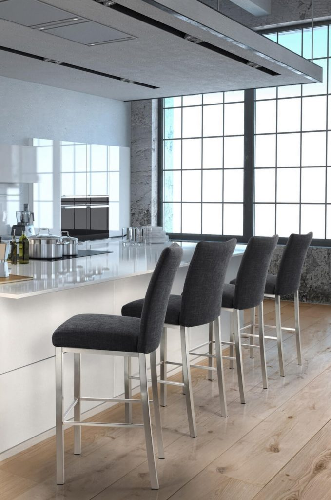 Trica's Biscaro Stationary Modern Upholstered Bar Stool in Modern, White Kitchen