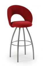 Trica Biscotti Swivel Stool with Red Fabric and Metal Legs
