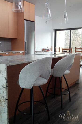 Trica's Biscotti Swivel Stools in Modern Kitchen