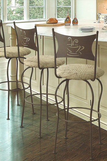 Trica Cafe Swivel Bar Stool W Coffee Or Tea Cup Design