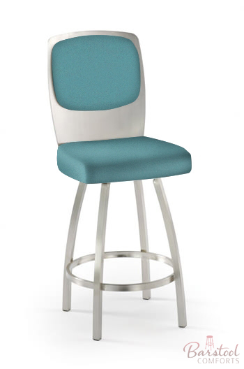 Tricau0027s Calvin Swivel Counter Stool In Seafoam Green Fabric And Brushed  Steel  36 Bar Stools O35