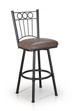 Trica's Charles 1 Armless Traditional Swivel Bar Stool in Brown Metal Finish and Brown Thick Seat Cushion