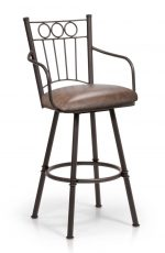 Trica's Charles 1 Traditional Swivel Bar Stool with Arms in Brown Metal Finish and Brown Thick Seat Cushion