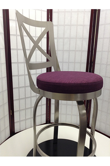 Trica Chateau Swivel Stool W Brushed Steel Amp Cross Back