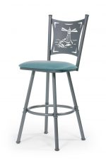 Trica's Creation Collection Swivel Bar Stool with Lighthouse Sea Back Design with Seafoam Green Seat Cushion and Silver Metal Frame