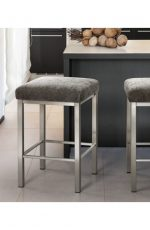 Trica's Day Square Backless Stool with Seat Cushion in Shiny Brushed Steel finish