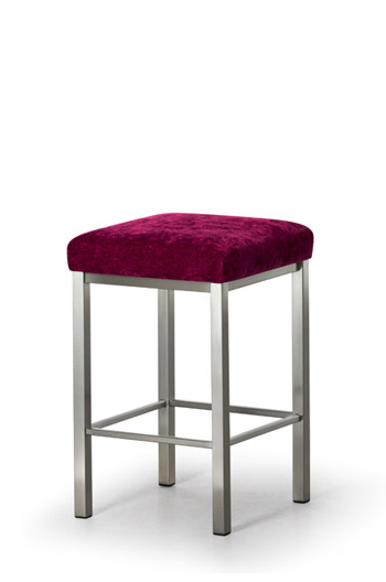 Trica Day Modern Backless Square Stool with Purple Seat Cushion