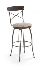 Trica's Laura Swivel Bar Stool with Cross Back Design, Round Seat Cushion and Brown Metal Frame