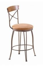 Trica's Laura Swivel Bar Stool with Cross Back Design and Upholstered Seat