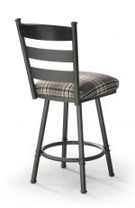 Trica's Louis Swivel Bar Stool with Ladder Back Design, Plaid Seat Cushion and Dark Metal Frame