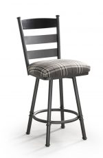 Trica's Louis Traditional Swivel Bar Stool with Ladder Back Design