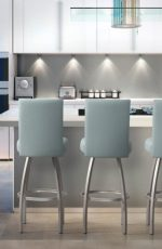 Trica's Nicholas Modern Upholstered Swivel Bar Stool in Seafoam Green Vinyl in Modern Kitchen