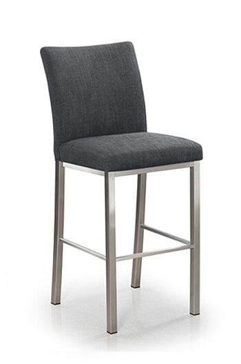Trica Biscaro Modern Upholstered Counter Stool with Brushed Steel