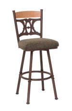 Trica's Penelope Swivel Bar Stool with Cinnamon Backrest, Thick Seat Cushion and Metal Frame