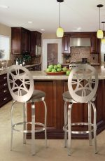 Trica's Provence Metal Swivel Bar Stools with Oval Backrest in Traditional, Brown Kitchen