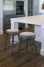 Trica's Sal Backless Swivel Bar Stools with Thick Seat Cushioning - in Traditional White Stainless Kitchen