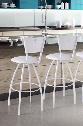 Tiptop Swivel Stool in White with Backrest