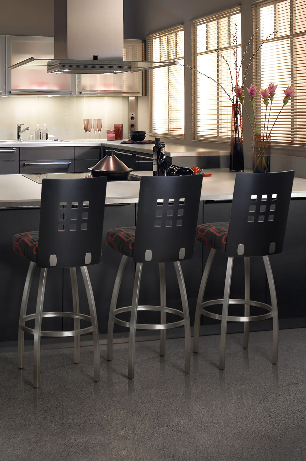 Trica Tristan Swivel Stool W 9 Squares On Back Modern