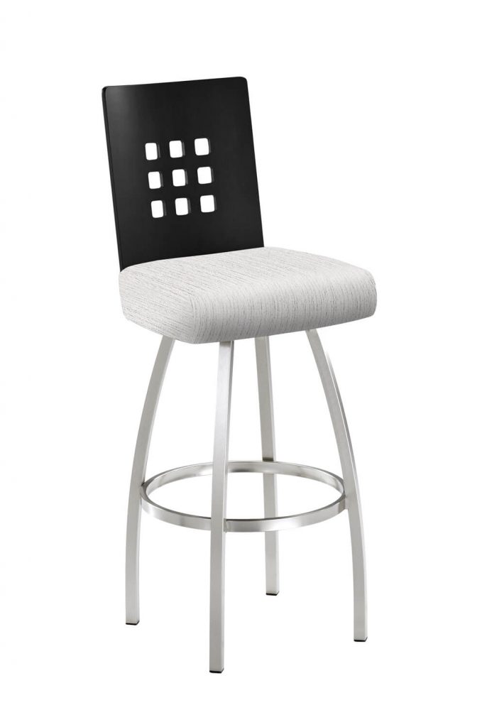 Trica's Tristan Modern Swivel Bar Stool with Wood Back, Brushed Steel Metal Finish, and White Seat Cushion
