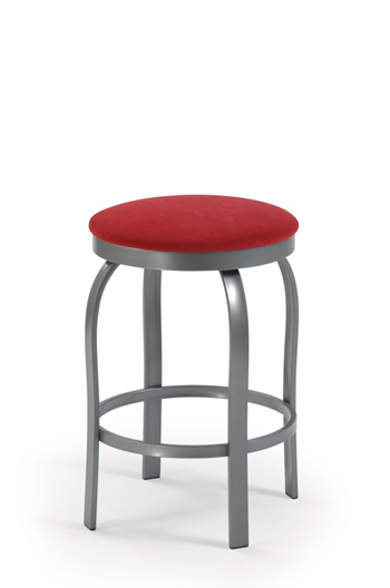 trica truffle backless swivel stool with red fabric