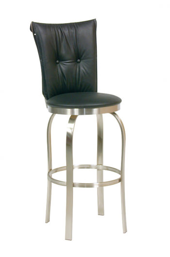Tuscany 1 Swivel Stool with Brushed Steel finish and Button Tufted Backrest