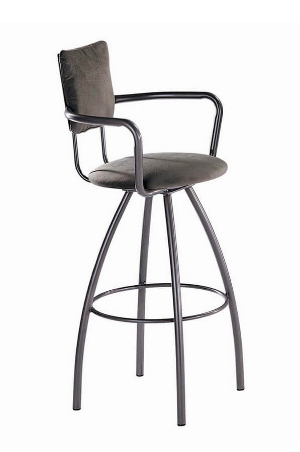 Zip Swivel Stool with Arms and Upholstered Back and Seat