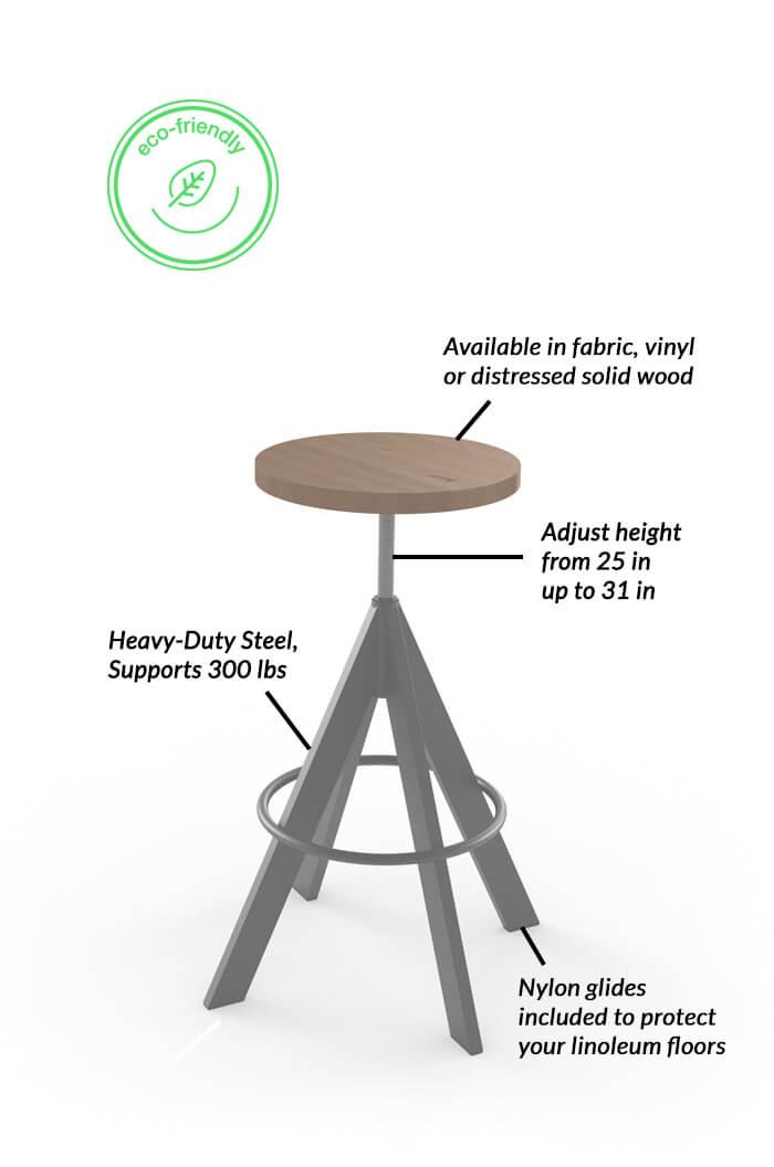 Amisco Uplift Backless Adjustable Stool Modern Free