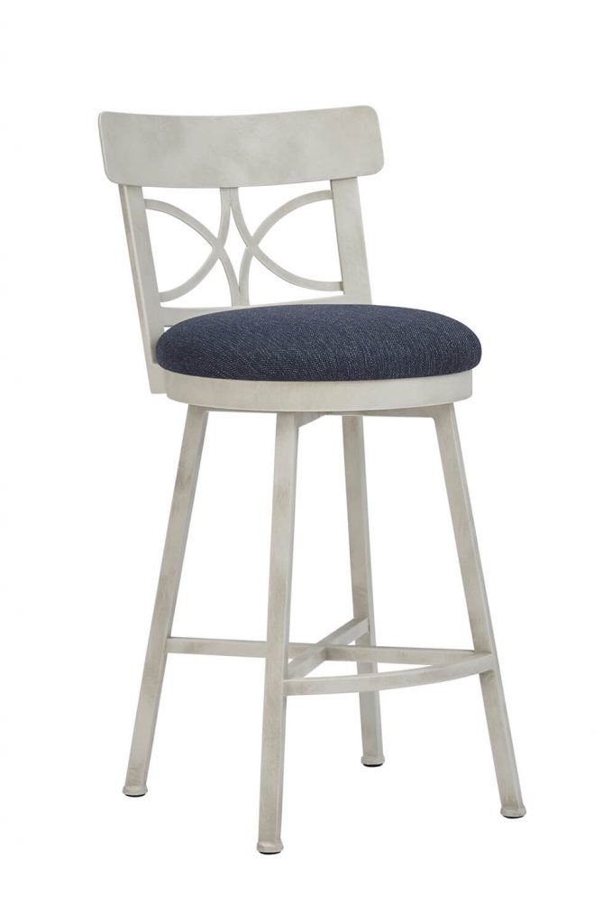 Wesley Allen's Sausalito Swivel Ivory Bar Stool in Blue Seat Cushion