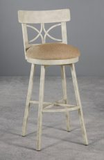 Wesley Allen's Sausalito Swivel Stool with Seat Cushion and Iron Finish