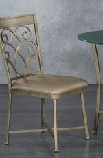 Metal Finish: Golden Bisque • Seat Fabric: Linen